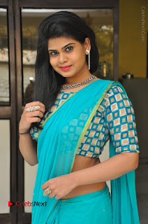 Telugu Actress Alekhya Stills in Green Saree at Swachh Hyderabad Cricket Press Meet  0003.JPG