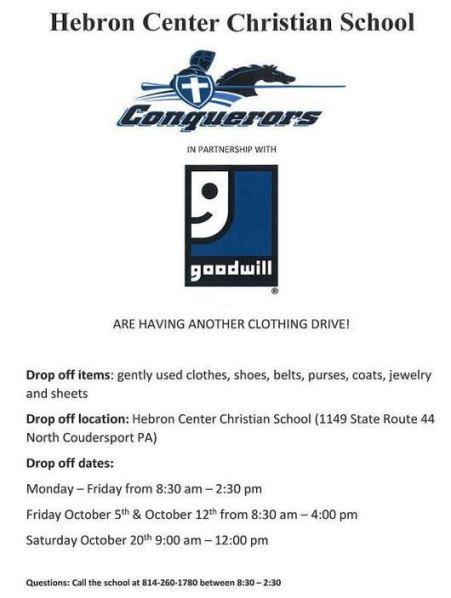 10-20 Hebron Christian School Clothes Drive