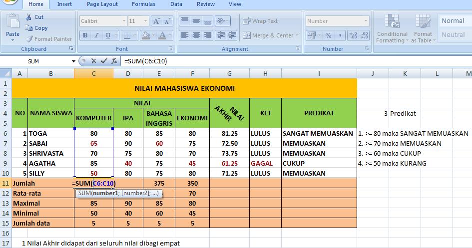 FORMULA PADA MICROSOFT EXCEL: MACAM - MACAM FORMULA MS. EXCEL