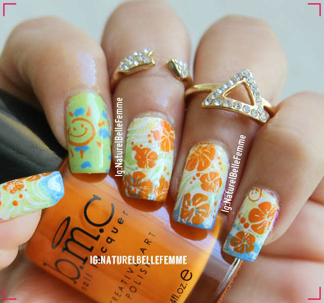 double staming Hawaiian manicure