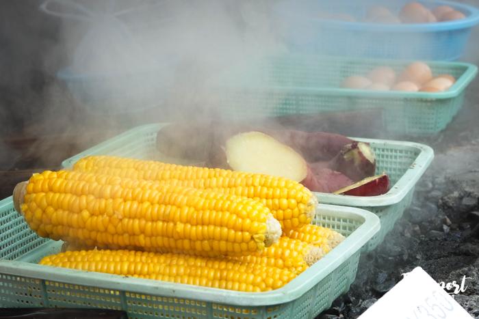 Légumes cuits dans la vapeur, Kannawa onsen, Beppu, Oita