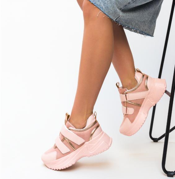 Adidasi de femei roz de primavara din piele eco ieftinicu talpa groasa