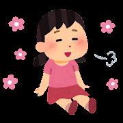 リラックスして座る女の子のイラスト