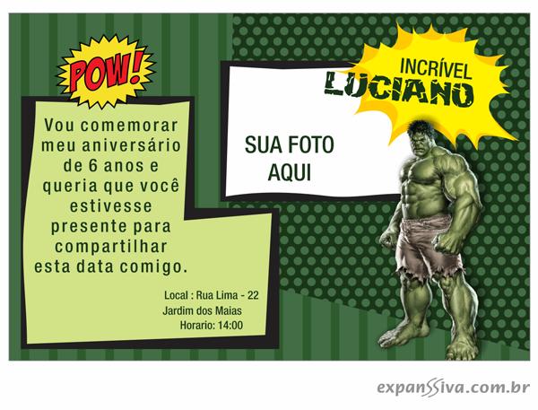 convite do hulk online