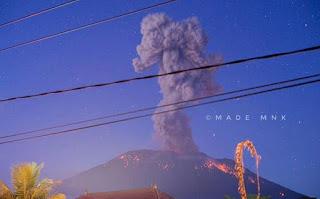 Gunung Agung Erupsi Lagi 2019, Beberapa Wilayah di Bali Hujan Abu