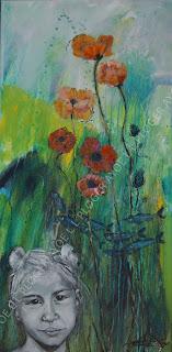 Green kids,valmuer, clean world,blue ocean,maleri,art,vadehav,forår,løg,tulipaner,glade farver,acryl