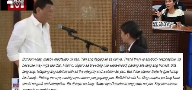 Pres. Duterte slams Grace Poe for nixing emergency powers, holier than thou attitude: