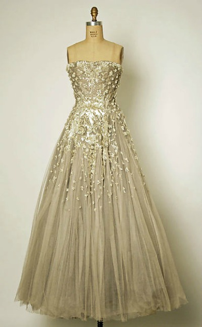 House of Dior evening gown on dress form