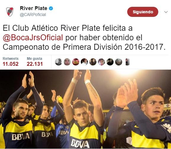 River Plate felicitó a Boca por el campeonato