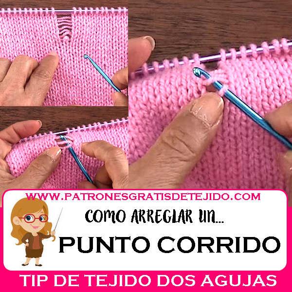 como se arregla un punto corrido en tejido dos agujas