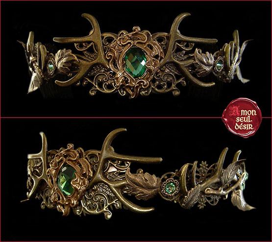 bois de cerf couronne wicca diadème tiare forêt Baratheon Crown antlers circelt wiccan pagan diadem tiara forest queen