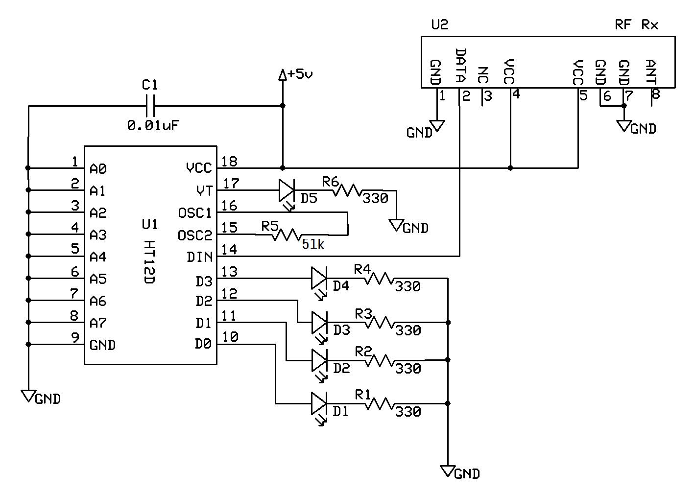 Basic Electronics Car Door Remote Key Sensor Receiver And Transmitter