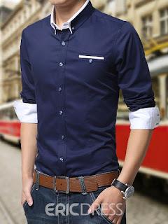 Ericdress Color Block Anti Wrinkle Long Sleeve Men's Shirt