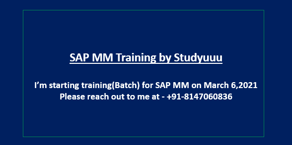 Training by Studyuuu for SAP MM