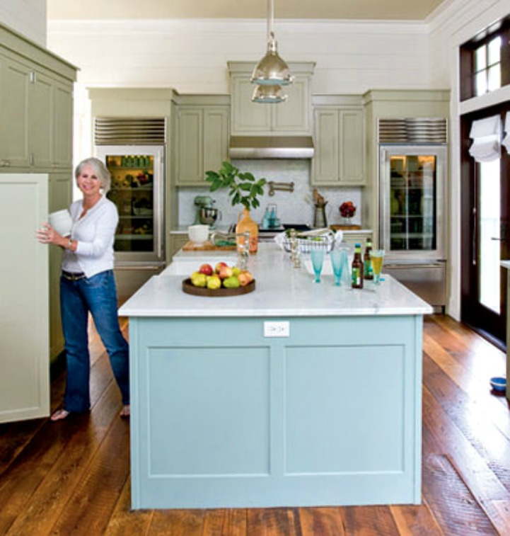 Coastal kitchen with aqua painted island