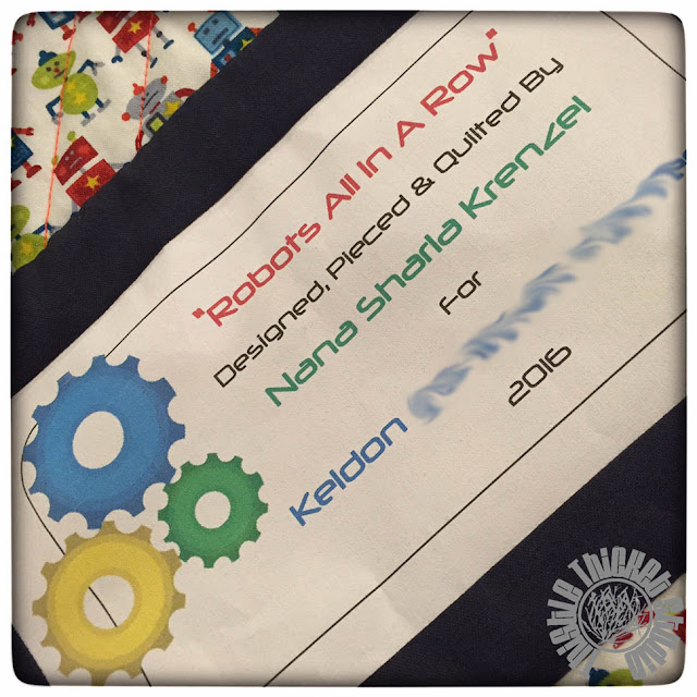 Robots All In A Row Quilt Label by Thistle Thicket Studio. www.thistlethicketstudio