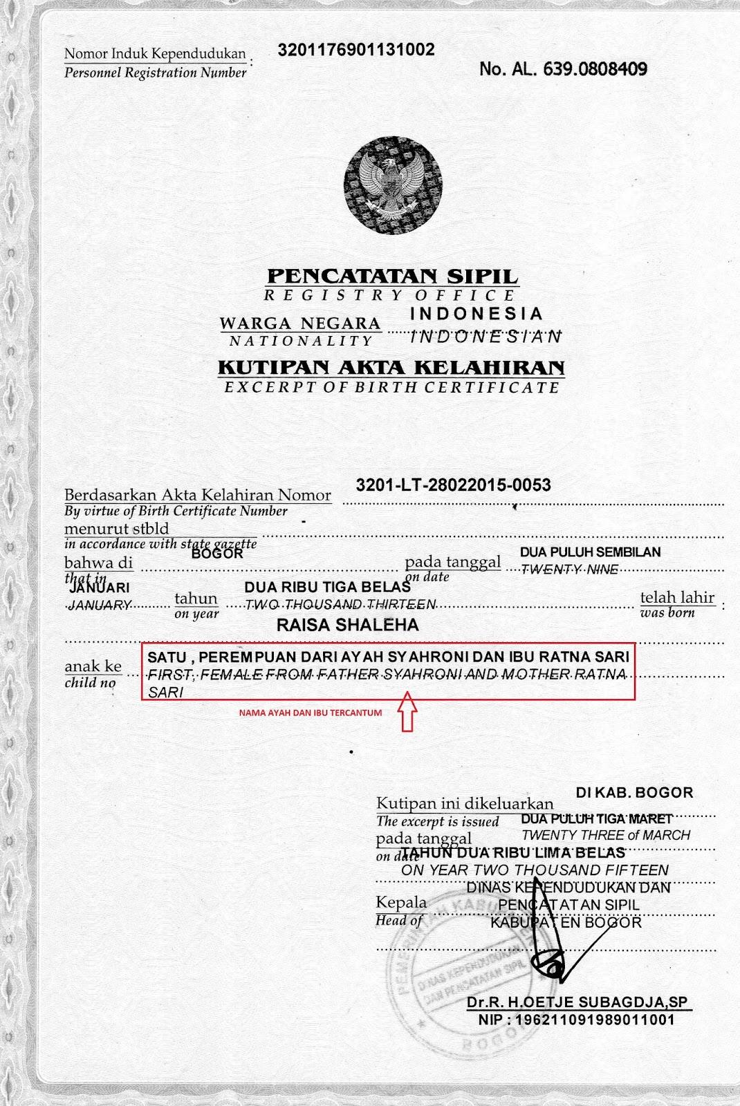 Contoh Surat Keterangan Pengganti Akte Kelahiran - Bagikan ...