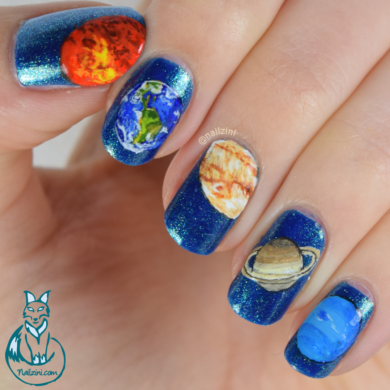 Earth Day - Planets Nail Art