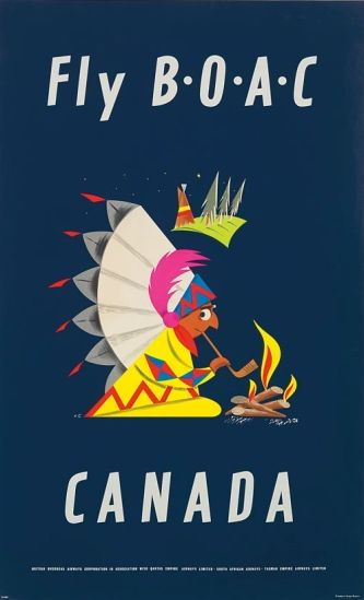 FLY B.O.A.C - Canada Vintage Travel Poster