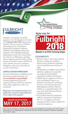 Full Bright Scholarship 2018, Full Bright Scholarship for Pakistani Students