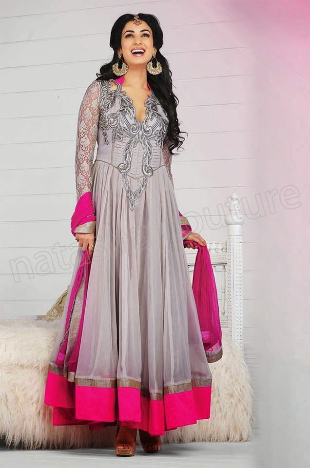 7d49203b2 New Party Wear Indian Anarkali Frocks 2014 By Natasha Couture