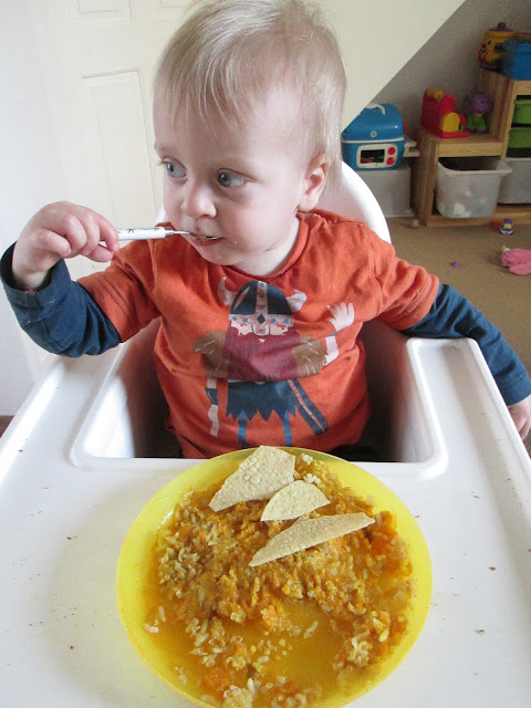 Alexander with his cauliflower and lentil curry