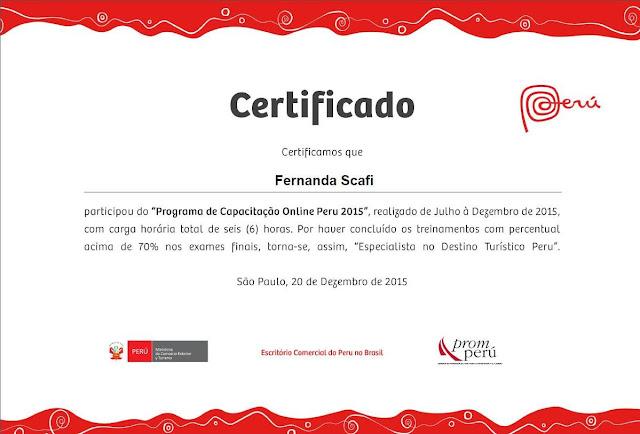 certificado de especialista no Peru