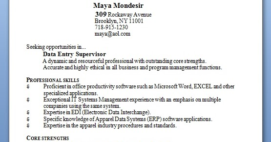 Data Entry Supervisor Resume Format In Word Free Download