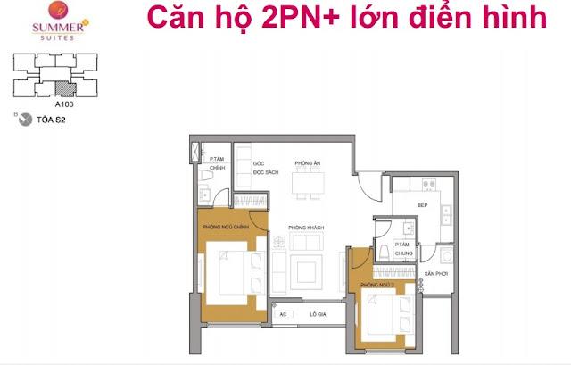 Thiết kế điển hình căn hộ 2 phòng ngủ - Seasons Avenue