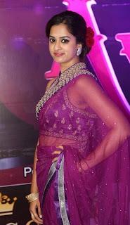 Actress Nanditha Raj Stills in Pink Saree at Apsara Awards 2016  0012