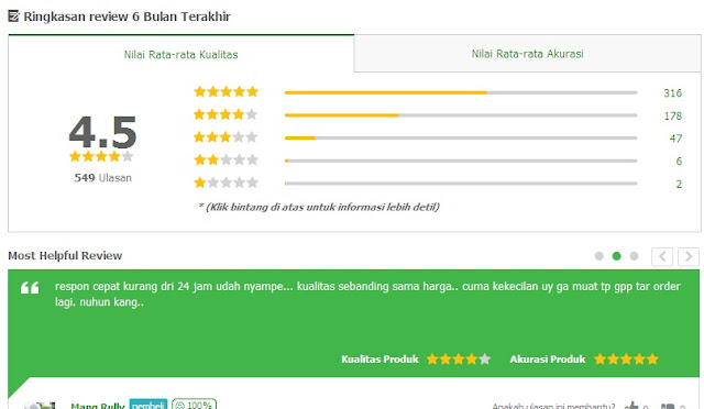 rating jaket di tokopedia