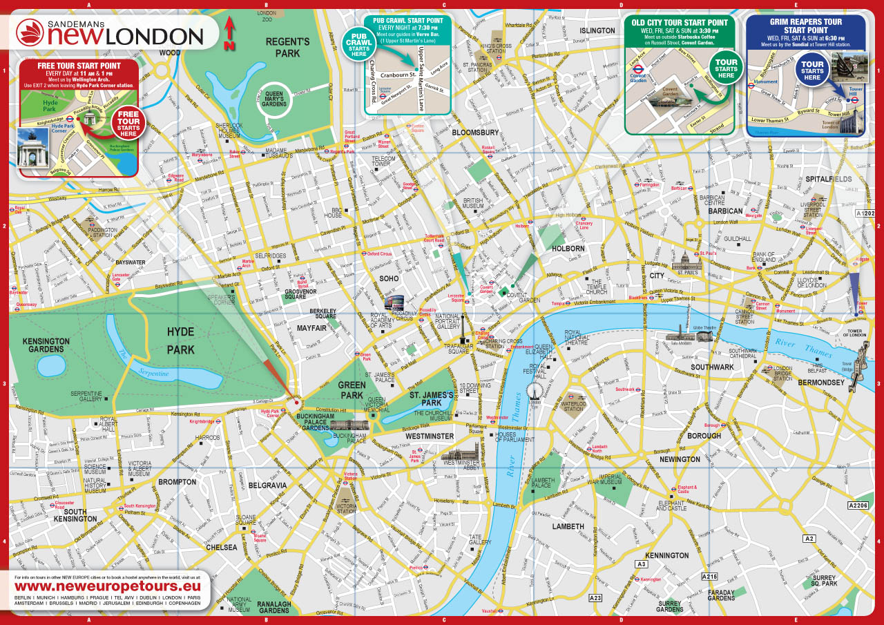 Breathtaking image inside printable map of london
