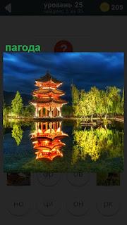 Около водоема стоит и отражается в воде пагода, рядом деревья