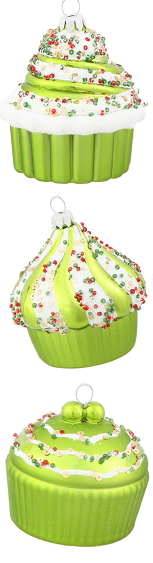 "Walmart Vickerman 3"" Cupcake Christmas Ornaments, Pack of 3"