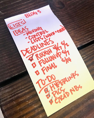 Tasha's To Do list for this blog post
