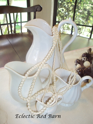 Eclectic Red Barn: White ironstone pitchers with pearls