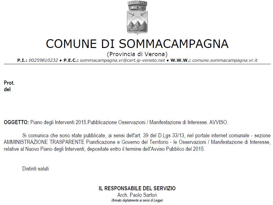 Pubblicate sul sito web del comune di sommacampagna nella for Creatore del piano del sito