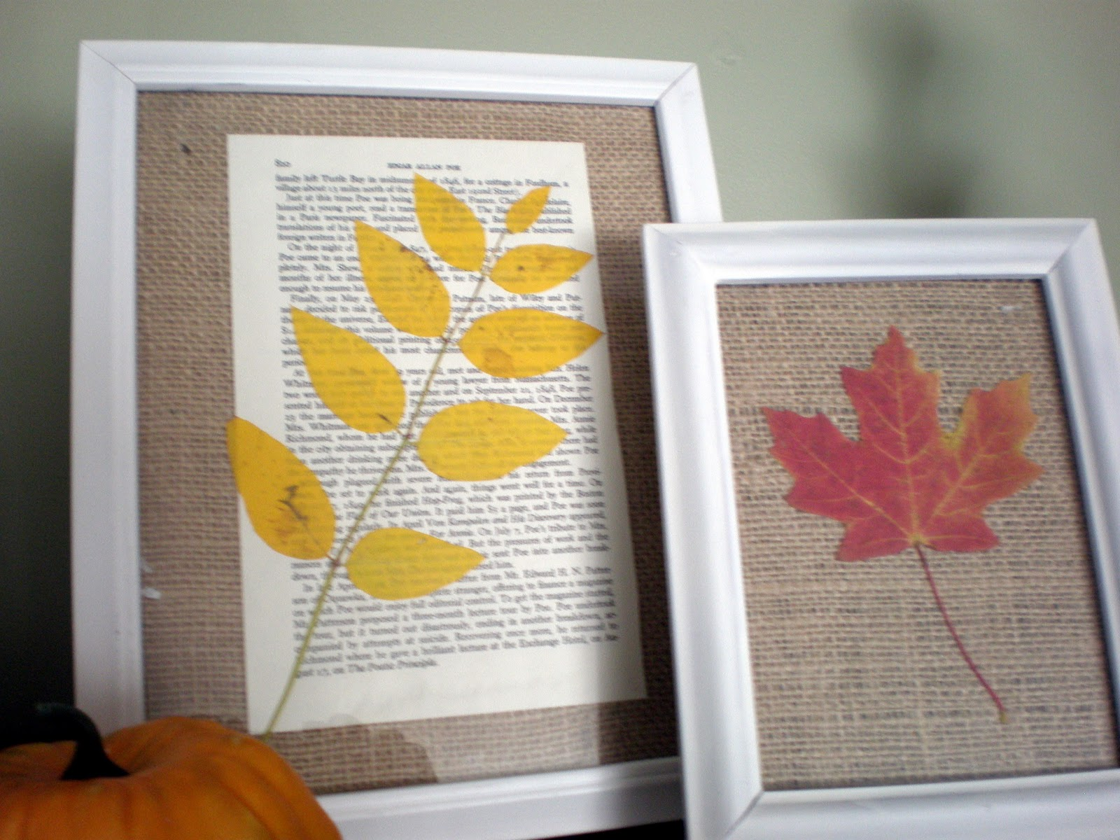 Framed book page Leaves