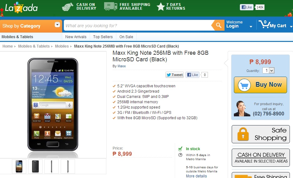 The Maxx King Note is now available at Lazada Philippines