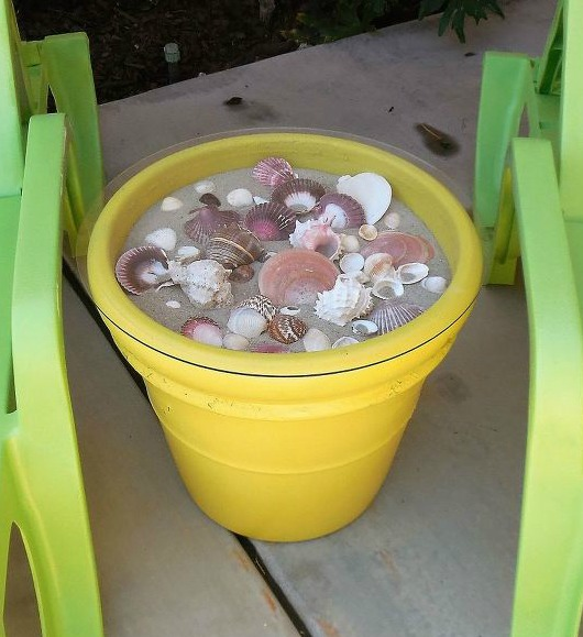Pot with Sea Shells Turned into Patio Side Table