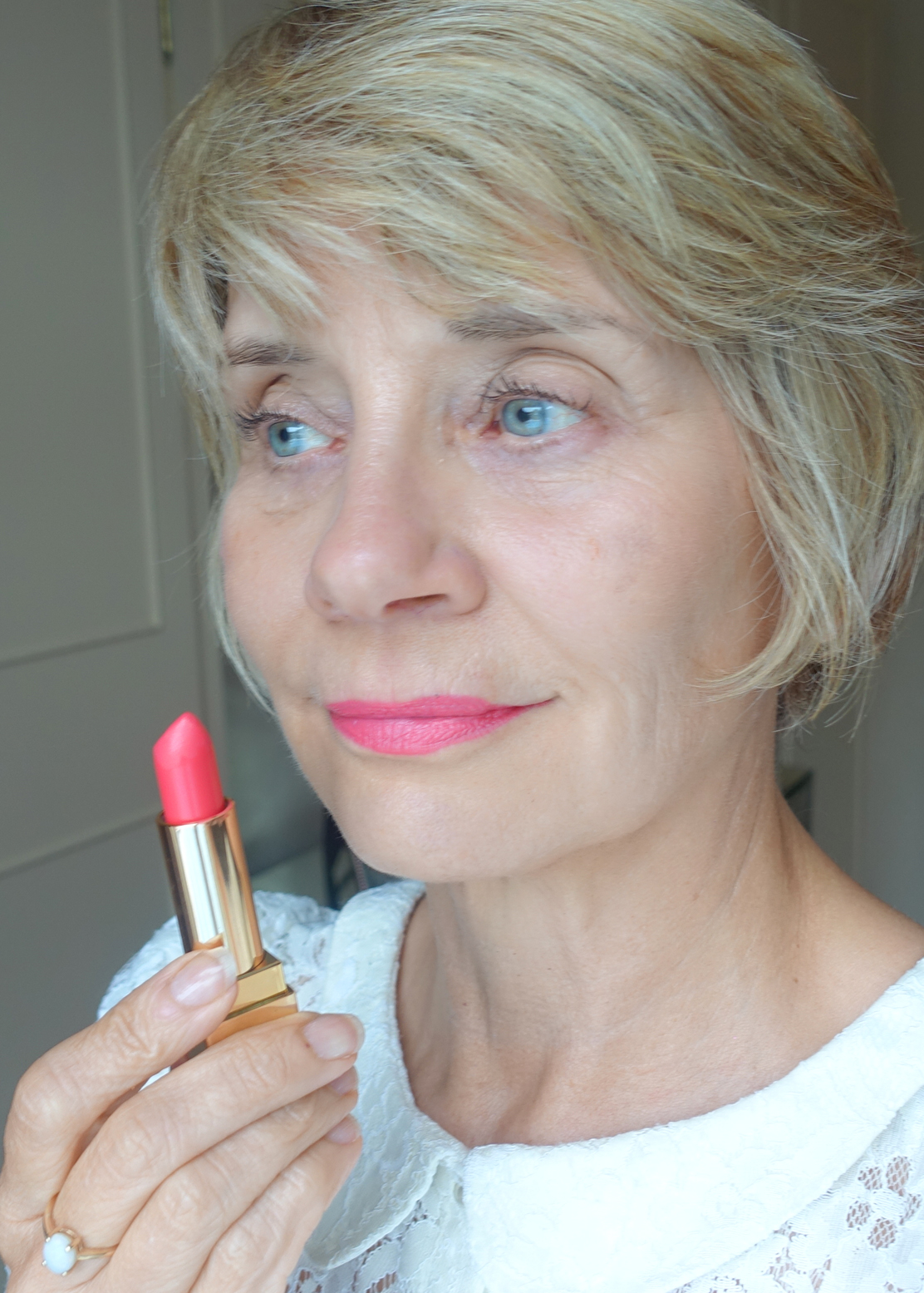 True to colour: YSL Rouge Pur Couture lipstick in Rosy Coral, worn by over 40s blogger Gail Hanlon