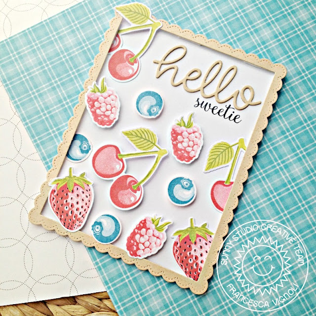 Sunny Studio Stamps: Berry Bliss Single Color Ink Technique Card by Franci Vignoli