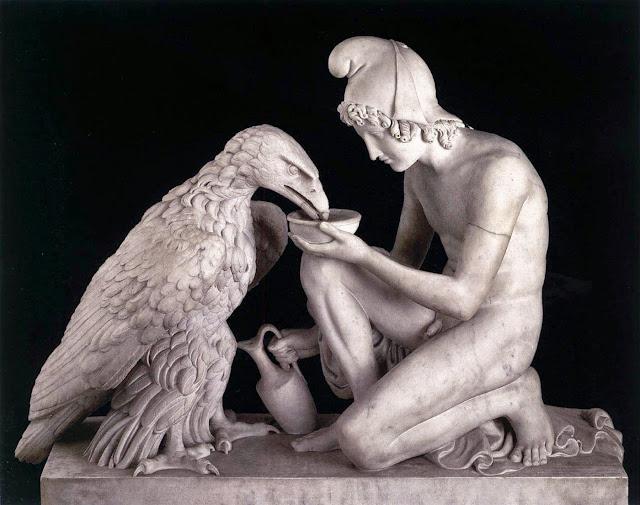 Bertel Thorvaldsen, Ganimedes con el águila de Zeus (1817), Museo Thorvaldsen, Copenhague