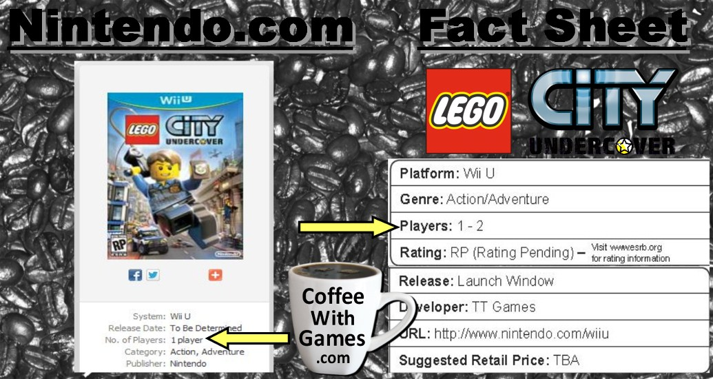 Lego City Undercover To Feature Multiplayer Nintendo Says No Then Yes Coffee With Games