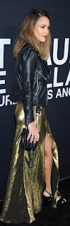 Jessica Alba, leather jacket, event