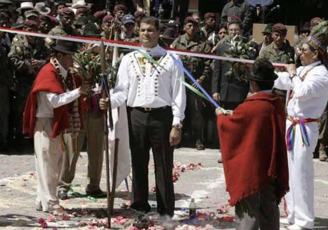 Rafael Correa, Chamanes, Ritual