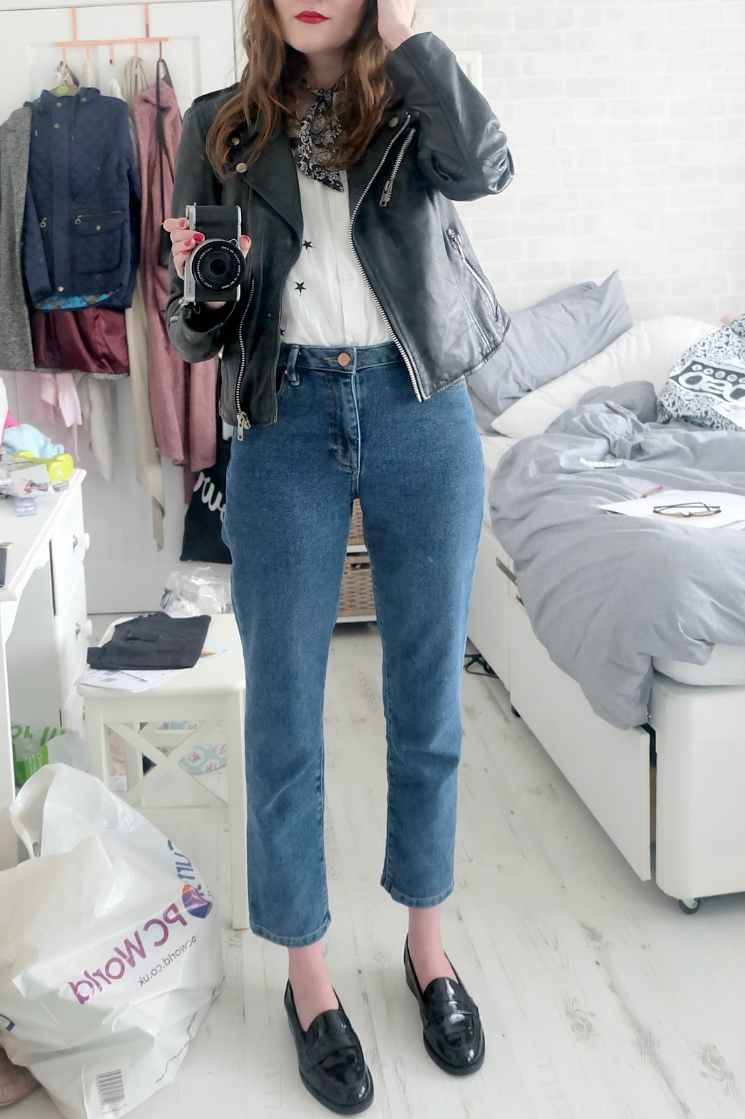 warehouse straight leg jeans review, mango embroidered star shirt, red lipstick outfit, dune lexus loafers, leather jacket outfit