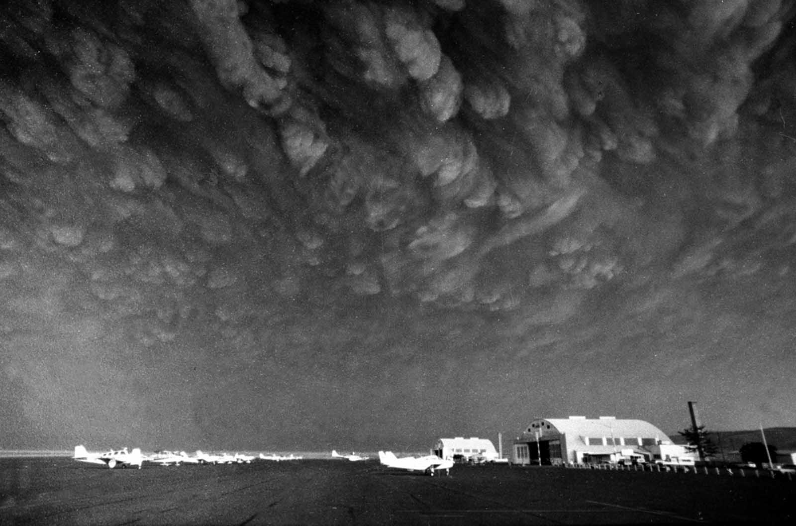 Ash clouds from Mount St. Helens move over Ephrata airport in Washington on Monday, May 19, 1980. Communities across central and eastern Washington were covered in 3-5 inches of gritty, fine, ash particles.
