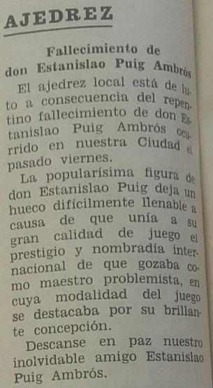 Nota sobre el fallecimiento de Estanislau Puig Ambrós, 4 de marzo de 1960