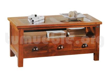 mesa de centro con cajones hecho en teca 4046
